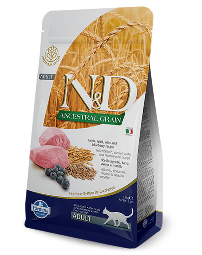 FARMINA N&D Low Ancestral Grain Lamb & Blueberry Adult Cat 1.5 kg